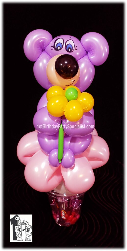 Teddy Bear Balloon Candy Cup by balloon artist Dale Obrochta