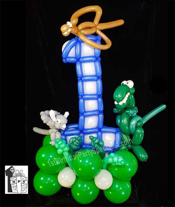 1st Birthday Party Balloon Decoration Dinosaur Balloon Animals
