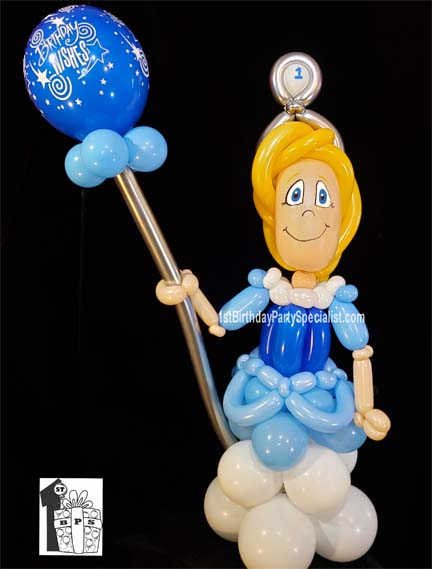 Princess Balloon Display for a 1st Birthday Party